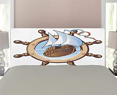 Ambesonne Ships Wheel Headboard, Image of Ship is in Framing of Steering Wheel Adventure Nautical Theme Artwork, Upholstered