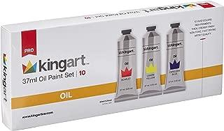 KINGART 522-10 Oil Paint, 37ml Tubes, Set of 10 Unique Colors, Professional Paint, Metal Tubes