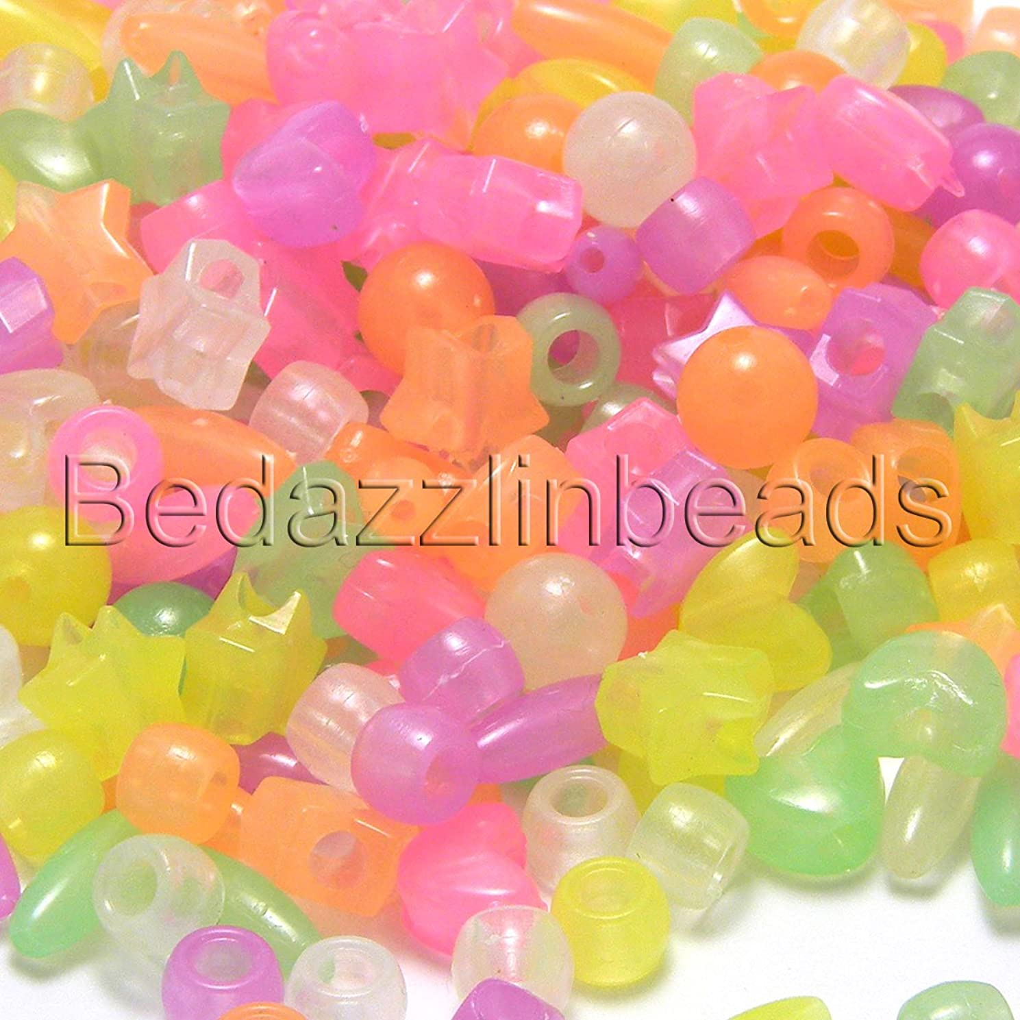 300 Assorted Color & Shaped Glow in The Dark Plastic Acrylic Novelty & Pony Beads