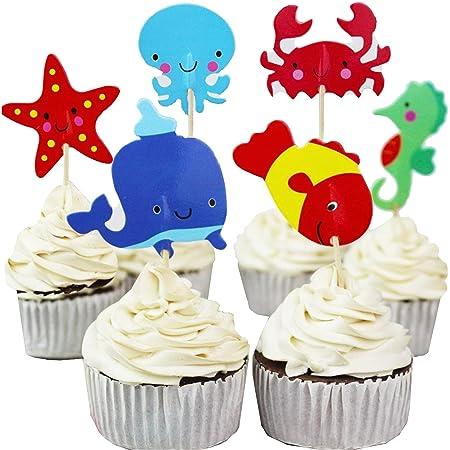 Cupcake Mer, decorazione per compleanno mare e oceano, pesce Cupcake, Topper, decorazione per torta di animali, marino, compleanno sotto l'oceano (confezione da 24)
