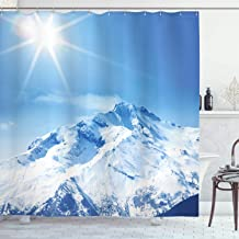 Ambesonne Apartment Decor Collection, Photo of Big Mountain's Snowy Peak and Sun in Bright Sky Magical Nature Landscape Art, Polyester Fabric Bathroom Shower Curtain Set with Hooks, White Blue