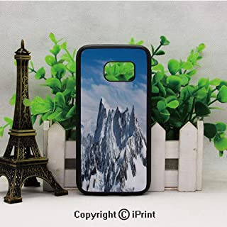 Picturesque Mont Blanc Cliff to Cloud Idyllic Environment Trekking Landmark Samsung Galaxy S7 Case Hard Back Shock Drop Proof Impact Resist Protective Case for Samsung S7 White Blue
