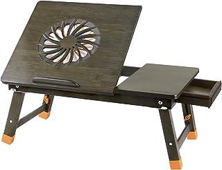 Nnewvante - Mesa de Escritorio Ajustable para Ordenador portátil, 100% bambú con Ventilador USB Plegable, Bandeja de Desayuno con cajón Bamboo with Fan- Bronze with Fan/Bronze