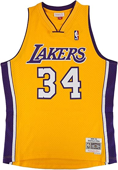 Shaquille O'Neal Los Angeles Lakers NBA Mitchell & Ness Gold 1996-97 Hardwood Classics Swingman Jersey For Men (XL)