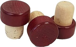 50 bouchons en liège - Poignée en bois - Diamètre : 19 mm - Bouchon en liège - Poignée en bois - Différentes couleurs (bor...