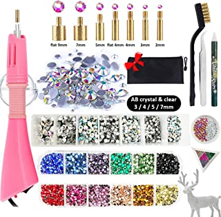 Hotfix Rhinestone Setter, Hot-fix Applicator Tool Kit, Hot Fix Wand, 3880 Pcs, AB Crystal, Clear, 12 Colors, 7 Tips, Manual, Tweezers, Jewel Picker, Stand, Brush, Trays, Zip Bag, 4 Gem Sizes