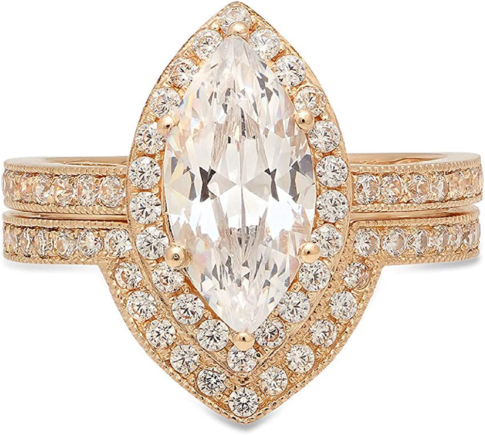 2.16 CT Marquise Brilliant Cut Simulated Diamond CZ Designer Solitaire Designer Pave Double Halo Bridal Wedding Anniversary Promise Ring band set Solid 14k Yellow Gold