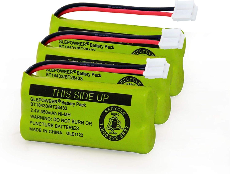 GLEPOWEER BT18433/BT28433 2.4V 550mAh Ni-MH Cordless Phone Battery Compatible with BT184342/BT284342 BT8300 BT1011 BT1018 BT1022 BT1031 2SN-AAA55H-S-J1 CS6120 CS6209 CL80109(3 Pack)