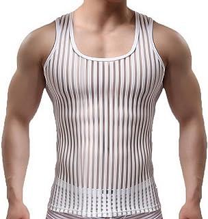 (ビグッド) Bigood 男性 無地 スポーツ 袖なしTシャツ メンズ シースルー タンクトップ 通気性良い トップス カジュアル フィットネス