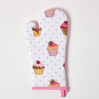 Homescapes Manopla para ollas y hornos, algodón y poliéster resistente al calor, con diseño de cup cakes y puntos