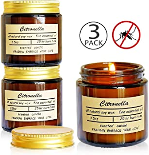 XYUT Citronella Candles, Jar Candle, Indoor and Outdoor, 25 Hours Burn 100% Soy Wax Glass Candle (3 Pack)
