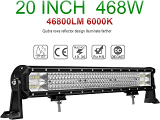 CO LIGHT LED Light Bar 20inch 468W 4 Rows Combo Beam Off Road Light Bars for Trucks Jeep Boat SUV ATV UTV 5 Years Warranty, colight-9643D-20inch