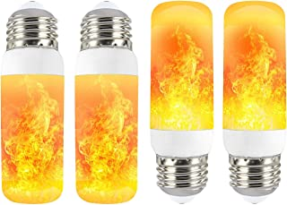 4 Pack LED Fire Flicker Flame Effect Light Bulb, E26 Base 4W with Gravity Sensor & 3 Modes (Emulation, Gravity Sensing, General), for Home Bar Party Decoration