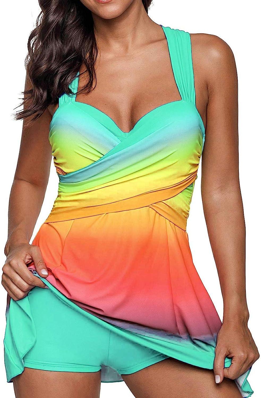 Women Color Block Rainbow Tankini Swim Dress Two Pieces Swimsuit with Boyshorts (M-3XL)