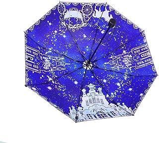 Light Parasol Star Sky Umbrella Students Folding Vinyl Umbrellas Rain and Rain Dual-use Men and Women Umbrella Portable (Size : B)