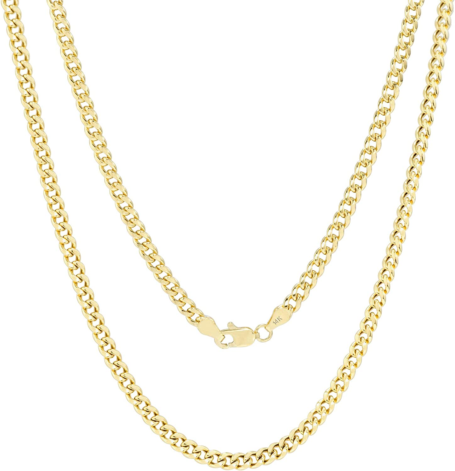 Nuragold 14k Yellow Gold 4mm Miami Cuban Link Chain Pendant Necklace, Mens Womens Lobster Lock 16
