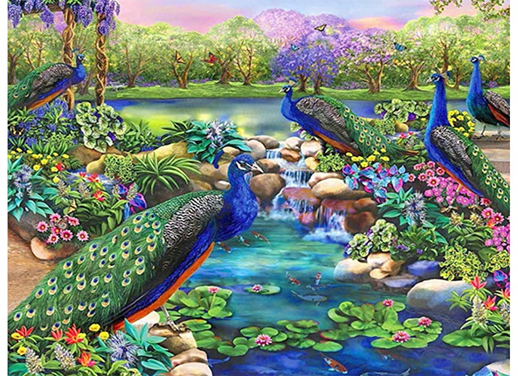 Twuky DIY 5D Diamond Painting, Home Decoration Crafts, Cross Stitch Craft, Full Drill,Peacock(30X40CM/12X16inch)