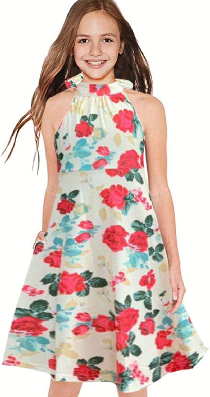 Miss Bei Girls Dresses Sleeveless Printed Flower Summer Dress Halter Neck Loose Casual Dresses