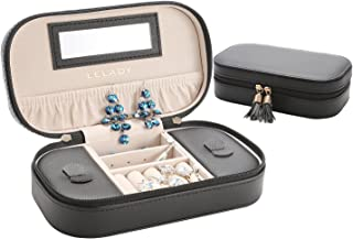 LELADY Jewellery Box Organiser Small Travel Jewellery Case Portable Faux Leather Jewellery Organiser Box Storage Holder with Mirror for Women Girls (Black)