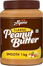 Alpino Classic Peanut Butter Smooth 1 KG | Made With High Quality Roasted Peanuts | 100% Non-GMO | Gluten-Free | Vegan