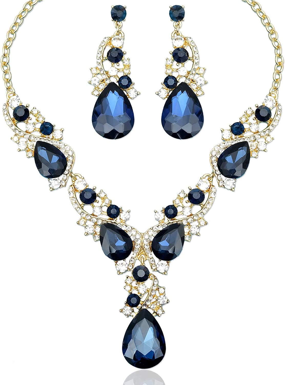 Bridesmaids Necklace Bib Necklace Blue Statement Necklace Fashion Party Necklace
