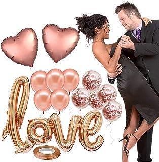 SAPU 13pcs Rose Gold Big Ligatures Love latter Xenon Latex Foil Romantic Balloon Set Heart Confetti Balloons for Occasions...