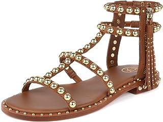 47c6922de5939d Ash Footwear Power Sandales Plates, Sandales en Cuir Marron, Sandales à  Crampons dorés,