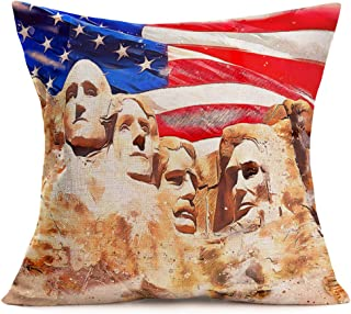 Aremetop Patriotic Independence Day American Flag Throw Pillow Covers with Modern Art USA Celebrity's Sand Sculpture Retro Home Decorative Pillow Case Square Cushion Cover 18''x18''