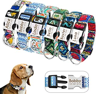 Didog Collar para Perro Personalizado con Hebilla de liberación rápida grabada, Collar para Perro Personalizado con Patrones de Moda para Perros pequeños, medianos y Grandes