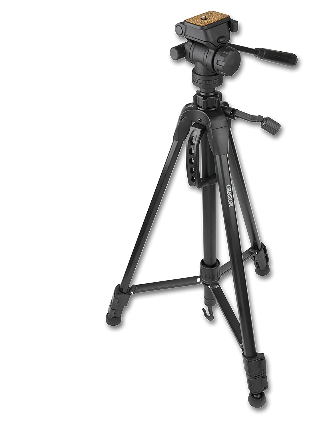 Carson TriForce Series 3-Way Fluid Panhead Aluminum Lightweight Tripods for Binoculars, Monoculars, Cameras, Spotting Scopes and More