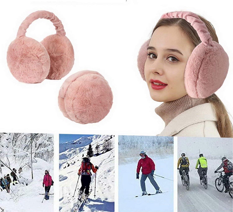 Unisex Winter Earmuffs Adjustable Faux Furry Foldable Ear Warmers Winter Warm Plush Earmuff 2Pcs