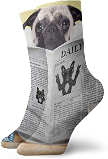 Pengyong, Lindo perro perro perro lectura periódico casual calcetines de la tripulación transpirable correr entrenamiento de trabajo deportes caminar calcetines para hombres y mujeres