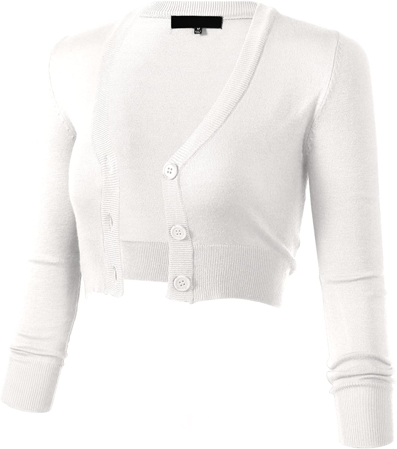 Women's Solid Button Down 3/4 Sleeve Cropped Bolero Cardigans (S-4XL)