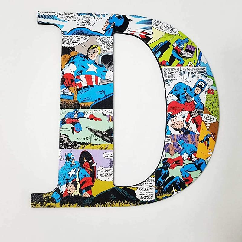 Captain America Wall Letters Nursery Letters Superhero Decor Superheros Comic Book Decor Kids Room Wooden Letter Custom Names Boys