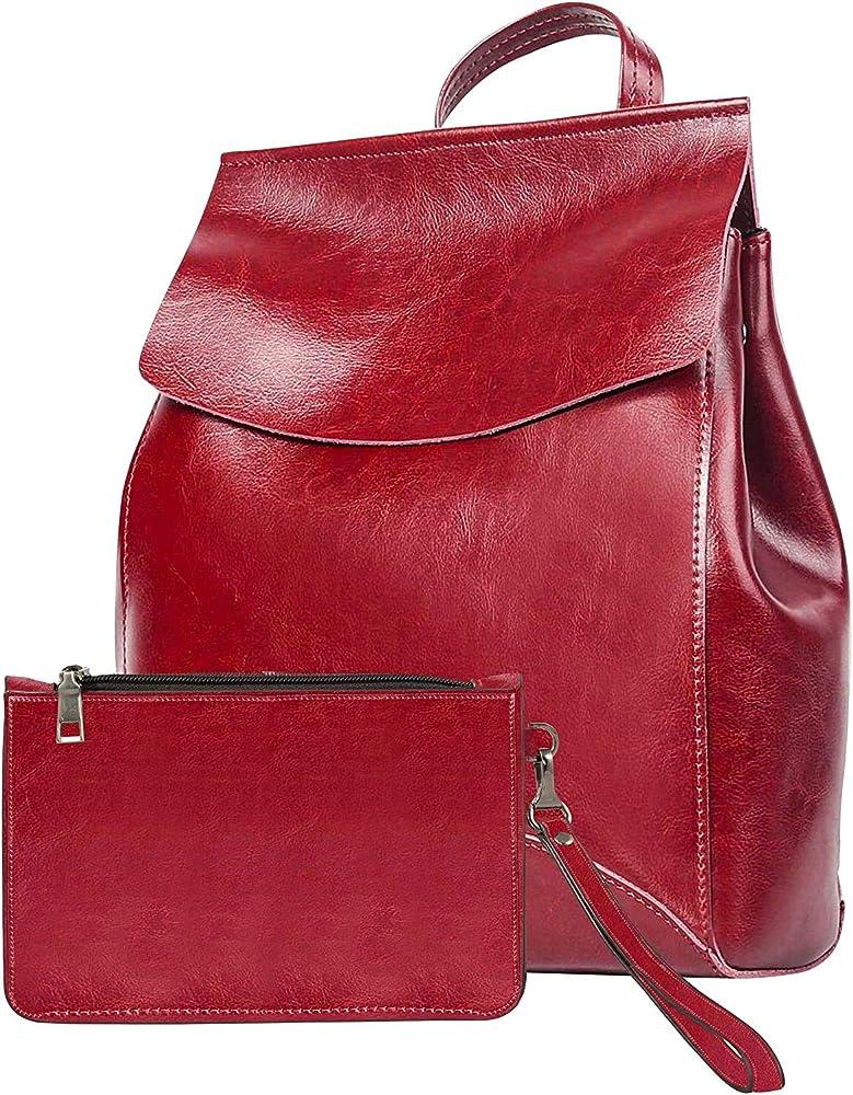 Evooo, borsa zainetto per donna con pochette, in pelle vegana, rossa