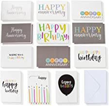 120-Pack Happy Birthday Cards and Happy Anniversary Cards - Includes 6 Colorful Birthday Designs, 6 Anniversary Designs, 10 of Each, Bulk Box Set Variety Pack with Envelopes Included, 4 x 6 Inches