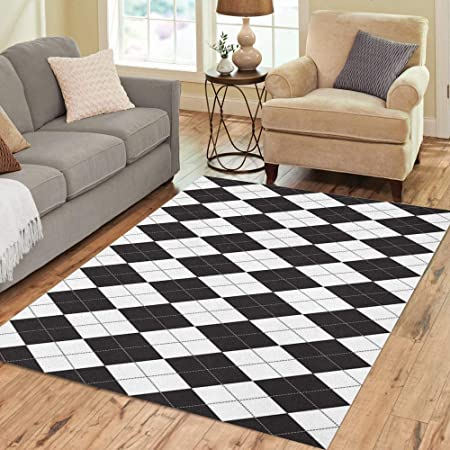 Amazon Com Pinbeam Area Rug Harlequin Argyle Pattern Made Of Black Diamonds Over Home Decor Floor Rug 3 X 5 Carpet Kitchen Dining