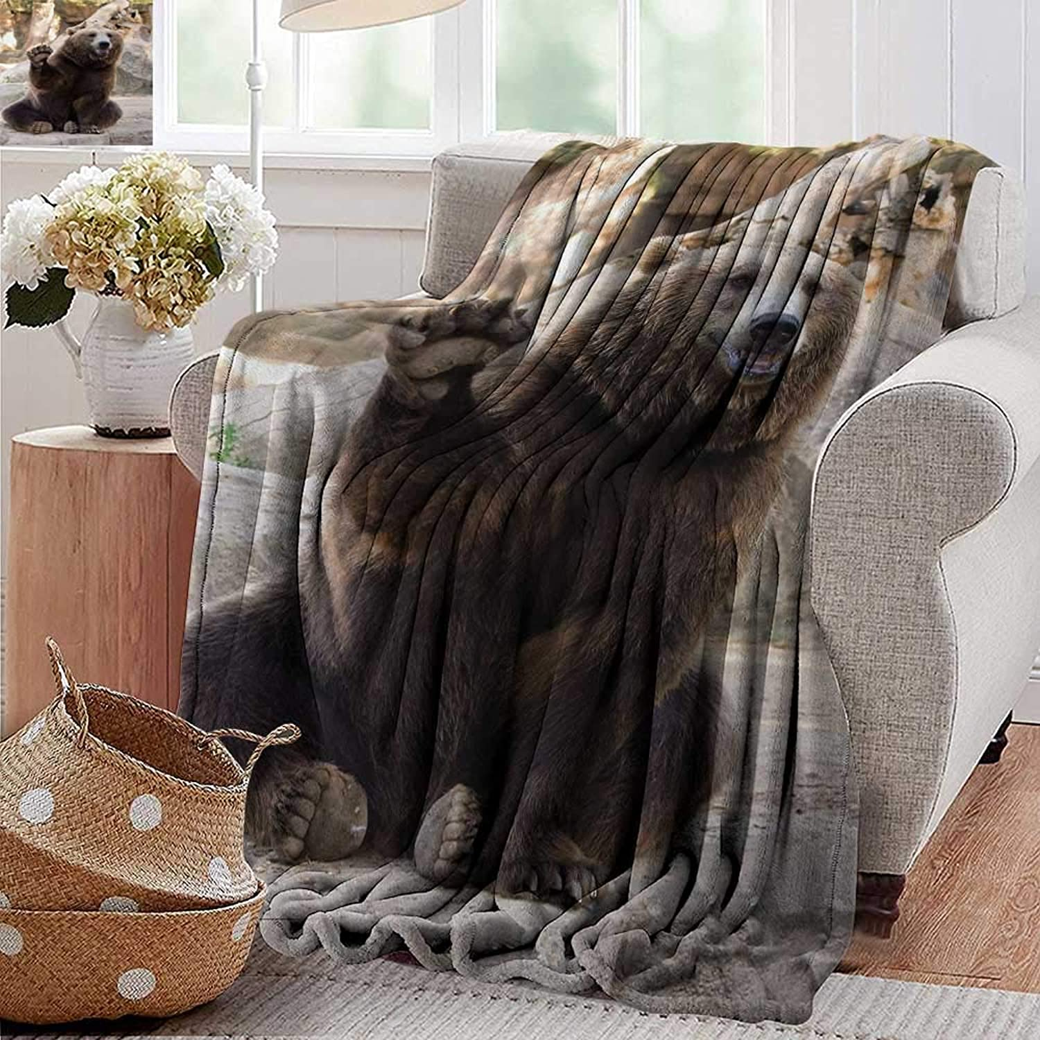 Camping Blanket,Bear,Friendly Animal Sitting and Waving a Paw in The Zoo Cute Funny Wild Mammal Gesture,Brown Beige,Flannel Blankets Made with Plush Microfiber 50 x60
