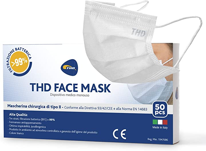 Mascherina chirurgica medicale, ce, 50 pz, inodore e priva di contaminanti, triplo strato filtrante >99% thd THD800237