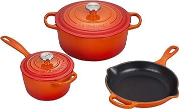 Le Creuset MS1605-2 Signature Enameled Cast Iron Cookware Set, 5-Piece, Flame