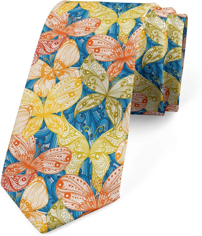 Ambesonne Men's Tie, Butterflies and Floral, Necktie, 3.7