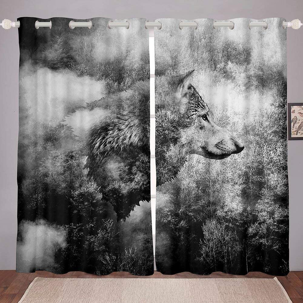 Homewish Wolf Window Curtains Black Head and Print White Wi Same day shipping Las Vegas Mall