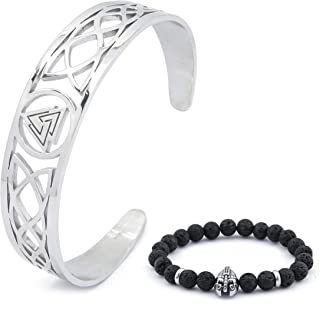 BaviPower Viking Odin Valknut Celtic Knot Wave Bangle Cuff Stainless Steel Accessory Pagan Occult Accessory