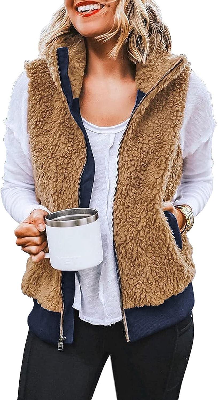 luvamia Womens Casual Fleece Vest Warm Sherpa Outerwear Sleeveless Zip Up Jacket Coat