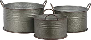 Urban Trends 42113 Metal Round Bucket with Ribbed Design Body & Rust Effect Edges/Side Handles Galvanized Finish (Set of 3), Gray, 3 Piece