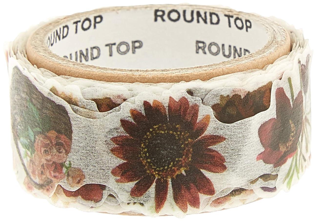 Roundtop Designer's Washi Masking Tape 20mm x 5m, Yano Design Series Flowers for Collage, Brown (YD-MK-042)