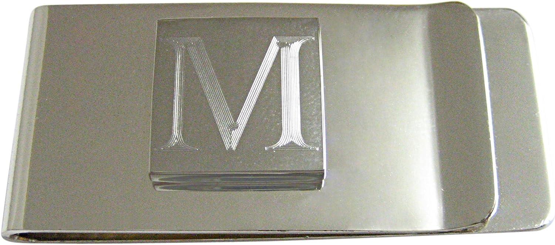 Letter M Etched Monogram Money Clip