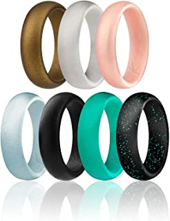 ROQ Silicone Wedding Ring for Women, Affordable Silicone Rubber Wedding Bands, 7 Packs, 4 Pack & Singles - Glitters & Metallic - Rose Gold, Silver, Pink, Black, Blue