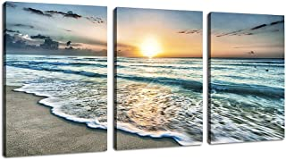 Canvas Wall Art Beach Sunset Ocean Waves Wall Decor 3 Pieces x 12
