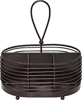 Gourmet Basics by Mikasa 5153172 Rope Metal Tabletop Flatware and Napkin Picnic Caddy, 10